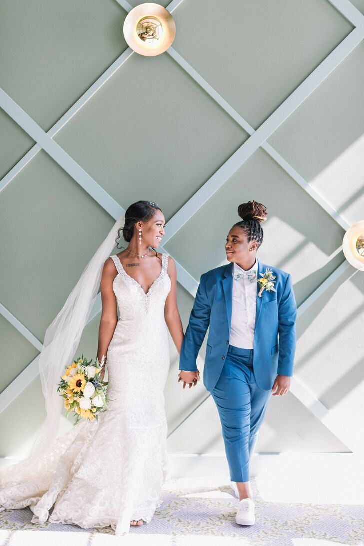 """""""We wanted our colors to be joyful,"""" Deja Lewis and Michiah Baker recall of the inspiration for their blue-and-yellow wedding at Redondo Beach's Porto"""