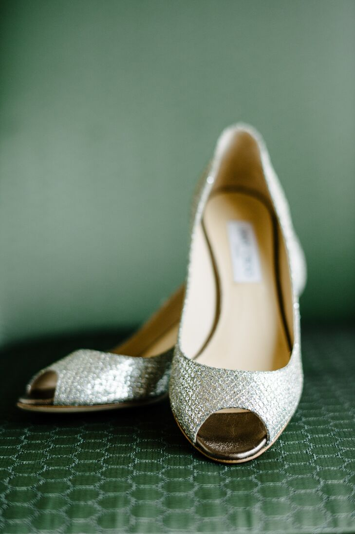 To give her bridal look a glam touch, Meredith walked down the aisle in a pair of silver Jimmy Choo peep toe heels.