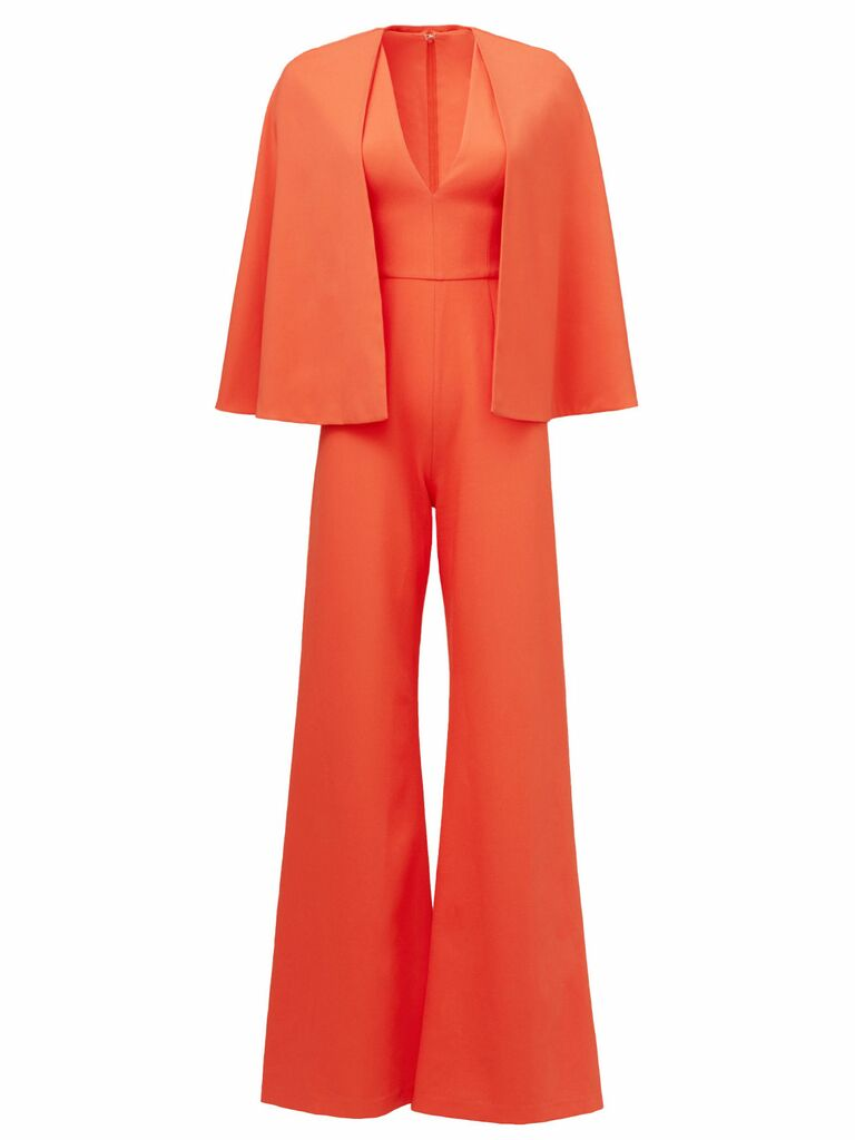 red amadeo revolve cape jumpsuit
