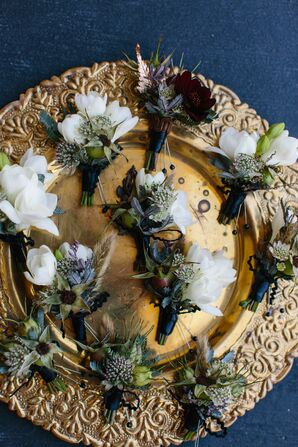 Bohemian Feather, Rosehip and Tuberose Boutonnieres