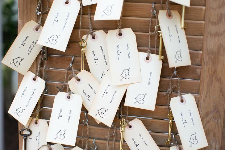 Guests' names and table numbers were typewritten on linen-paper tags, attached to skeleton keys and hung on a pair of rustic shutters.