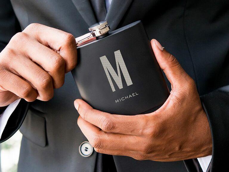monogram hip flask