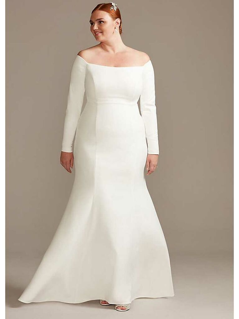 Simple plus-size wedding dress with long sleeves and off-the-shoulder neckline