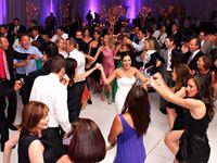 Wedding guests dancing on the floor