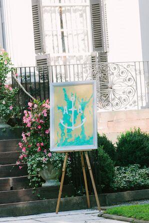 Turquoise Anchor Monogram Sign