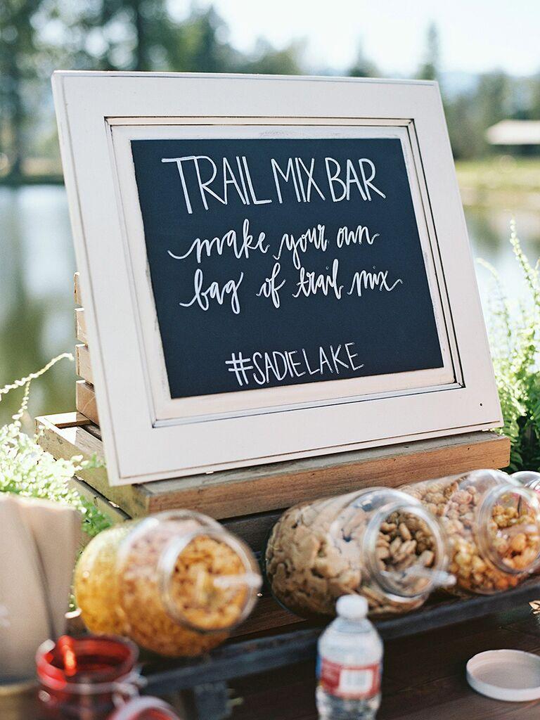 Trail mix bar wedding reception food idea