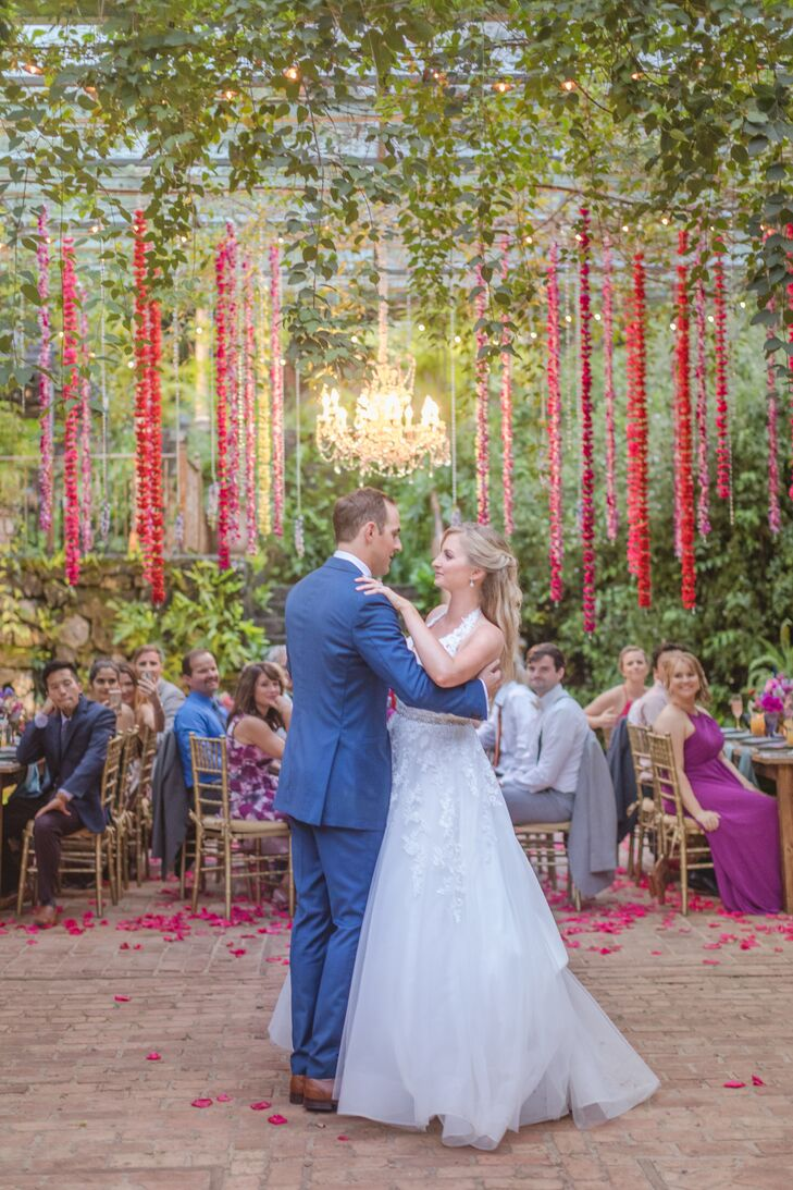 First Dance with Colorful Hanging Flowers
