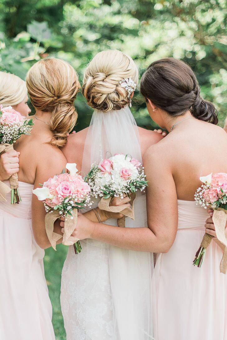 Braided Bridal Updo With Comb and Veil
