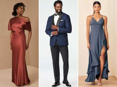 Collage of three black tie optional guest attire outfits