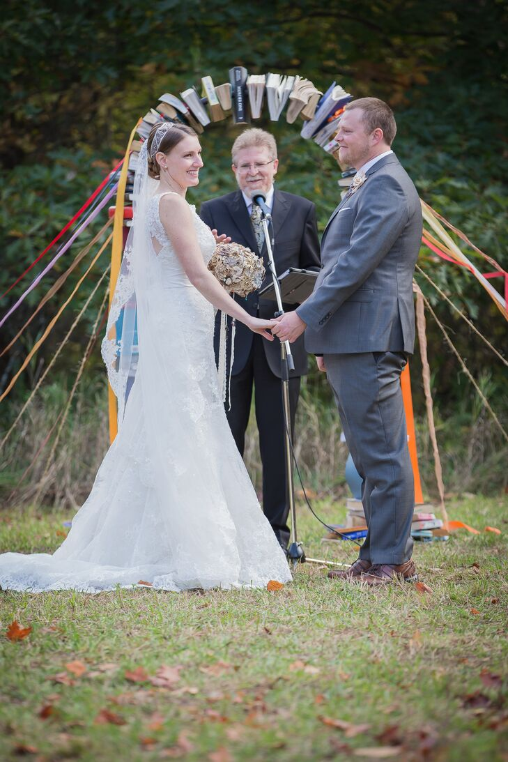 """The couple exchanged vows outdoors at a family friend's farm in Orillia, Ontario. """"We chose this farm because after my family and I moved to Canada from South Africa, we spent a lot of time on this farm getting used to our new home,"""" Erin-Joy says."""