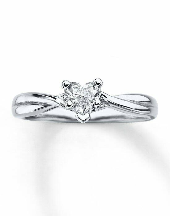 Kay Jewelers Diamond Solitaire Ring 3/8ct Heart- Cut 14K White Gold Twist Mounting-161261906 Engagement Ring photo