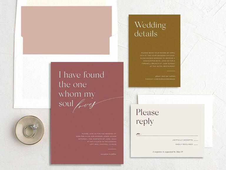 fall wedding invitation red
