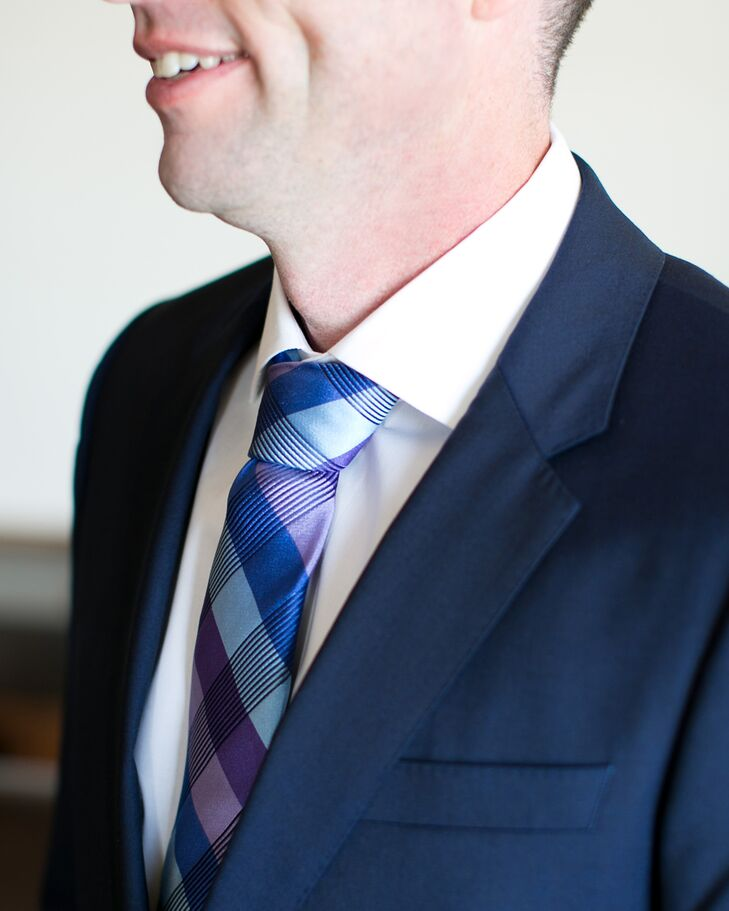 Blue and Purple Plaid Ted Baker Groom's Tie