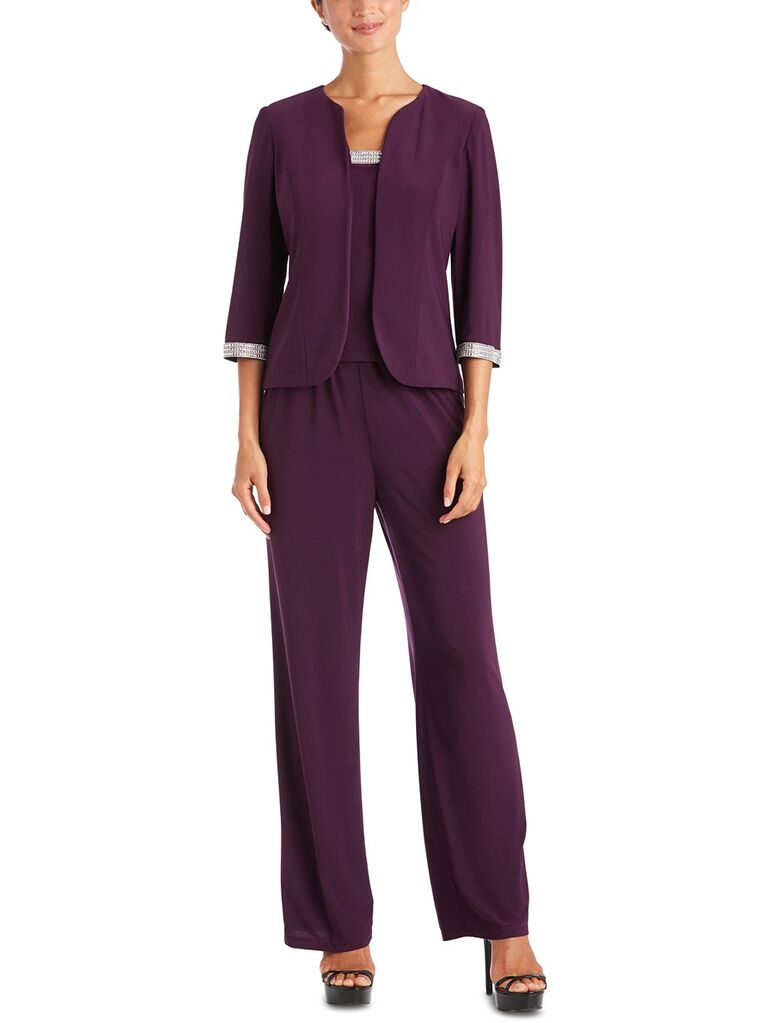 macy's burgundy three piece mother of the bride pant suit
