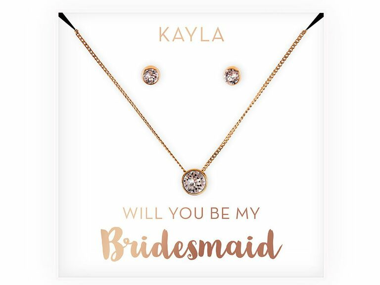 necklace and earring set with bridesmaid proposal