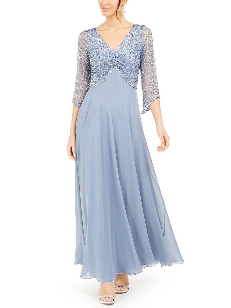 J Kara embellished 3/4 sleeve gown