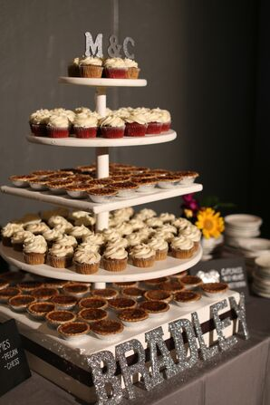 Tiered Stand With Cupcakes and Mini Pies