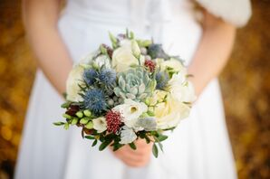 Succulent, Thistle and Holly Bridal Bouquet
