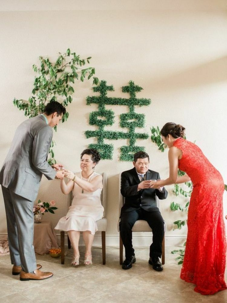 Chinese tea ceremony decorated with double happiness symbol