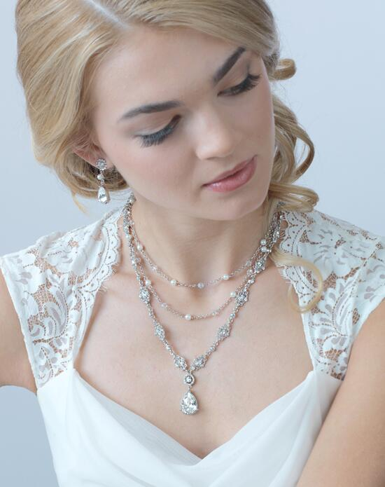 USABride Triple Strand Crystal Drop Jewelry Set (JS-1657) Wedding Necklaces photo