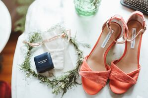 Flower Crown and Bright Orange Shoes