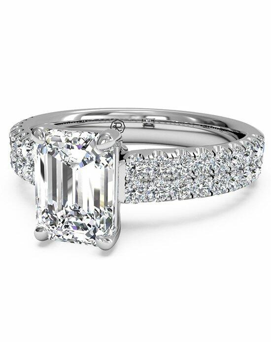 Ritani Emerald Cut Double French-Set Band Engagement Ring in Platinum (0.59 CTW) Engagement Ring photo