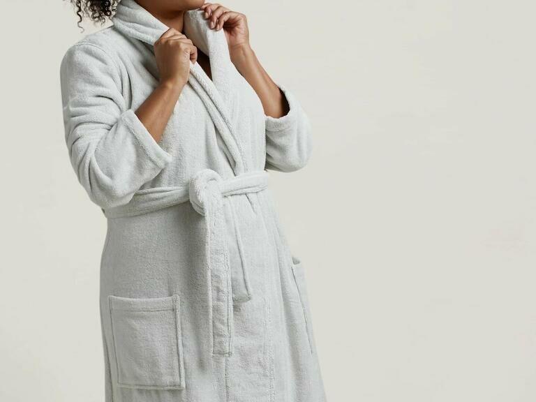 Model wearing snug parachute robe