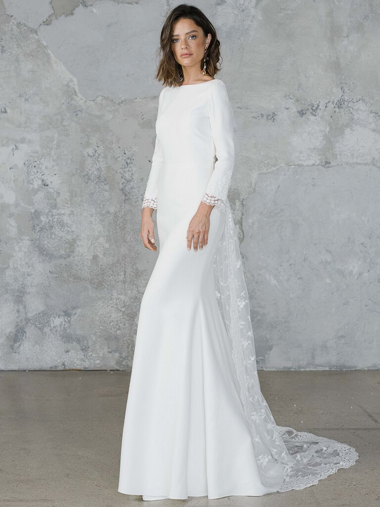 Rime Arodaky long sleeve boat neck wedding dress