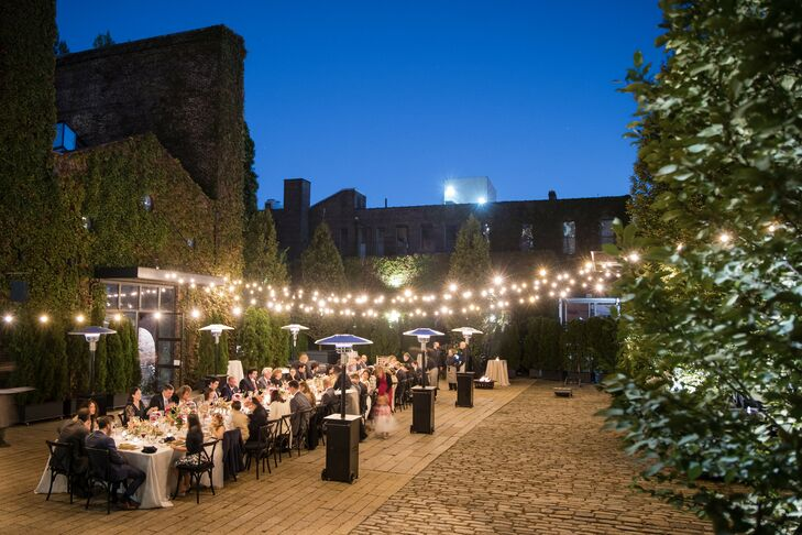 Terrace Wedding With String Lights at The Foundry in Long Island City, New York