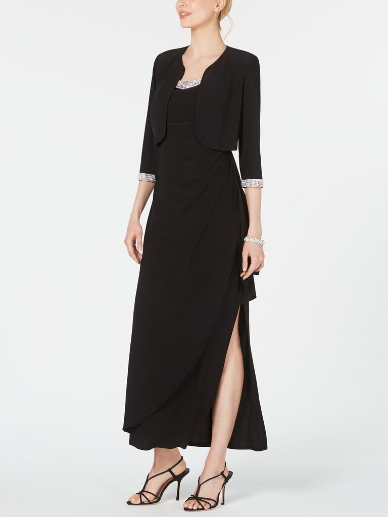 RM Richards cropped jacket with ruffled gown