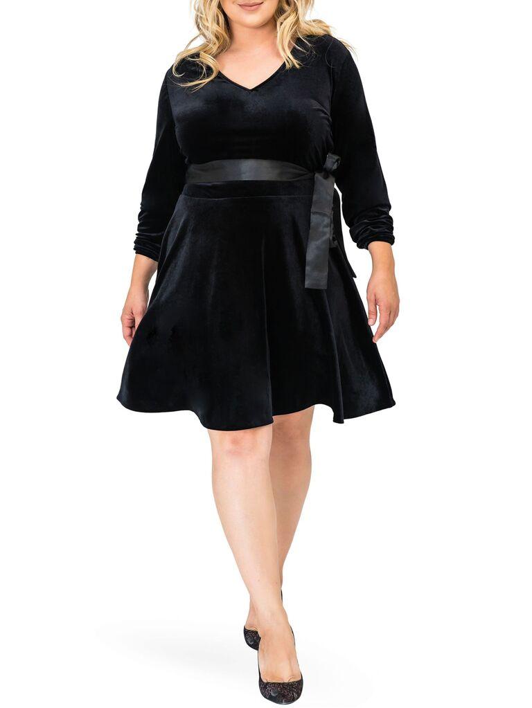nordstrom black velvet wedding guest mini dress with tie waist v neckline flowy skirt and long sleeves