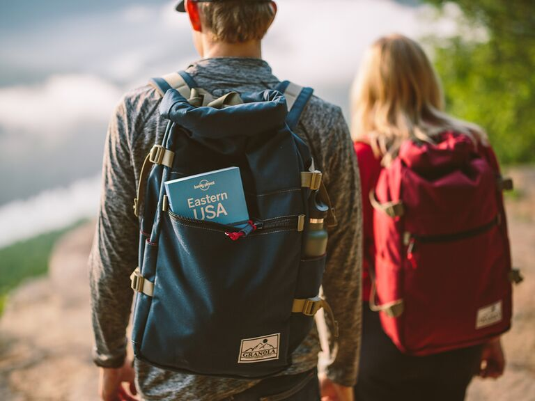 Couple hiking in the US with backpacks