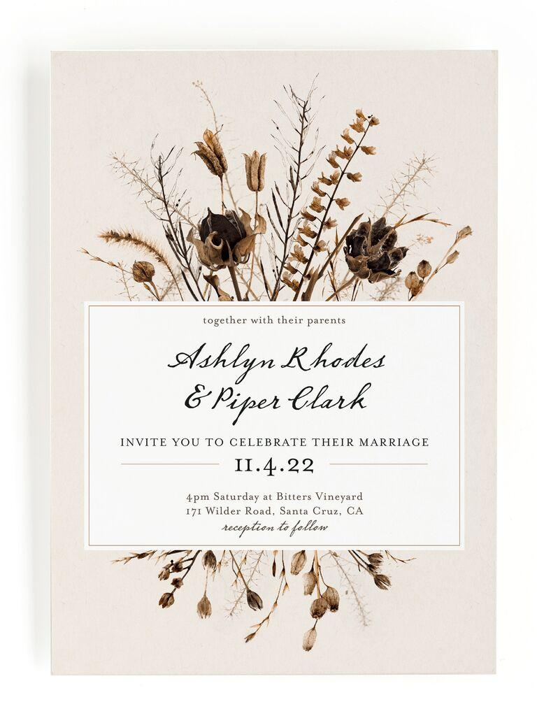 Dried flower fall wedding invitation