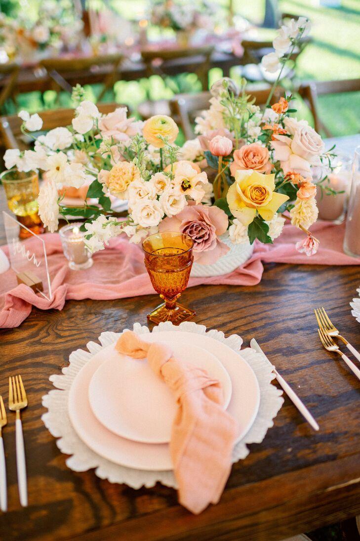 Blush Table Linens at Bohemian Wedding in Naples, Florida