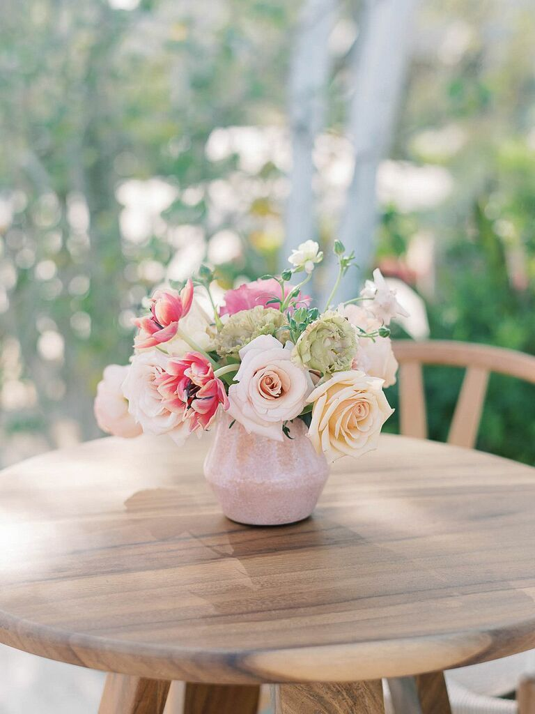 Petite centerpiece with pink roses