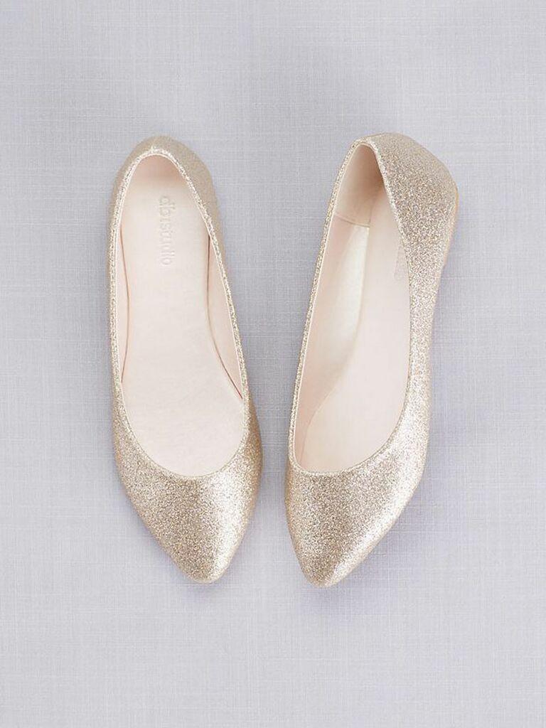 sparkly gold wedding flats