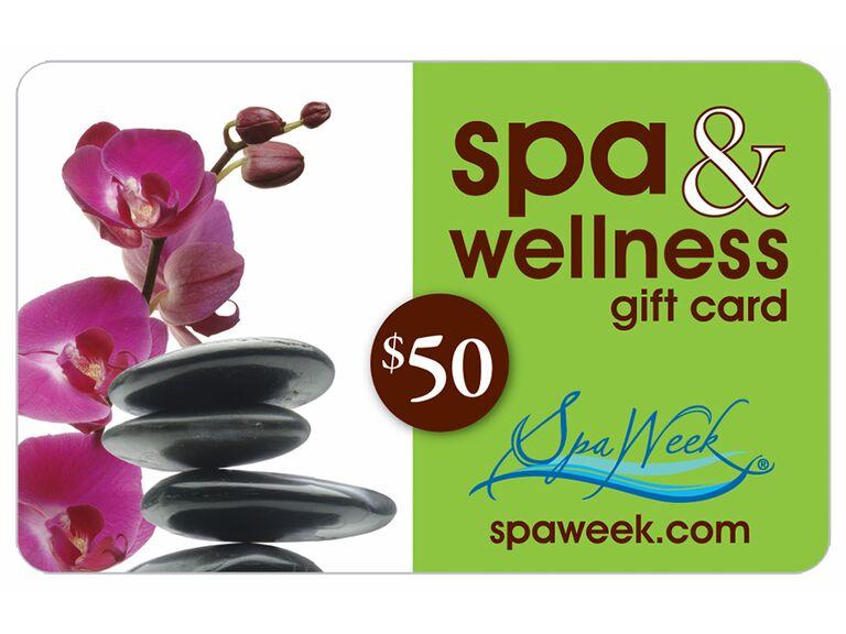 Spa Week gift card bridal shower gift idea