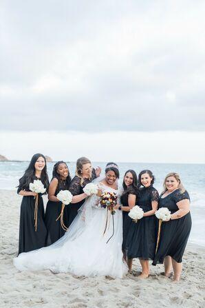 Oceanfront Wedding Party Portraits in Newport Beach, California