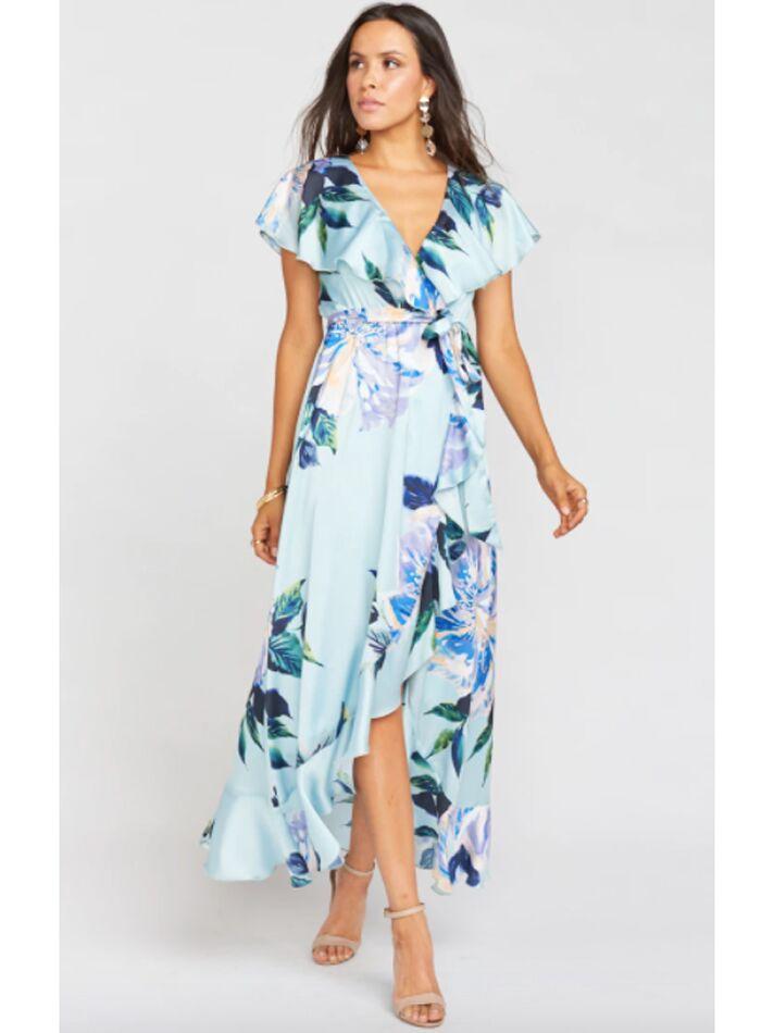 Blue floral ruffle midi dress