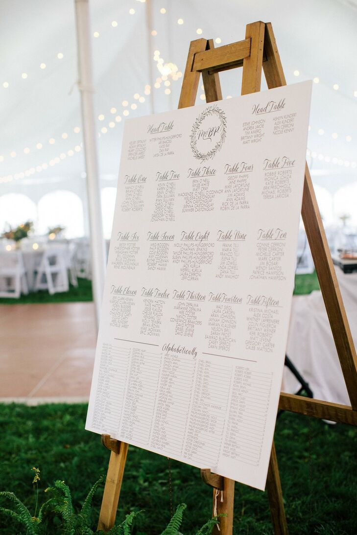 Large White Seating Chart on Easel