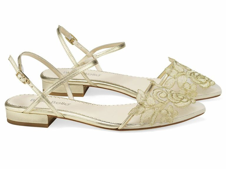 embroidered gold flats