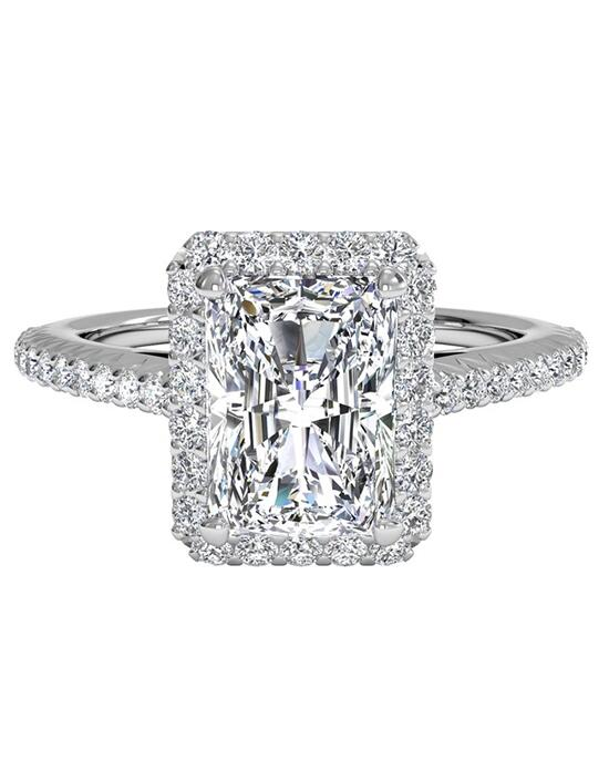 Ritani French-Set Halo Diamond Band Engagement Ring - in 14kt White Gold (0.21 CTW) for a Radiant Center Stone Engagement Ring photo
