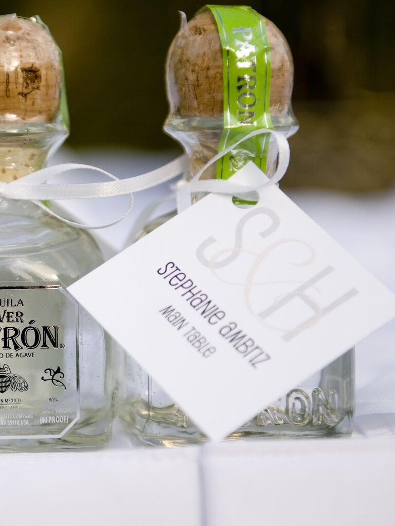 Mini tequila wedding favors