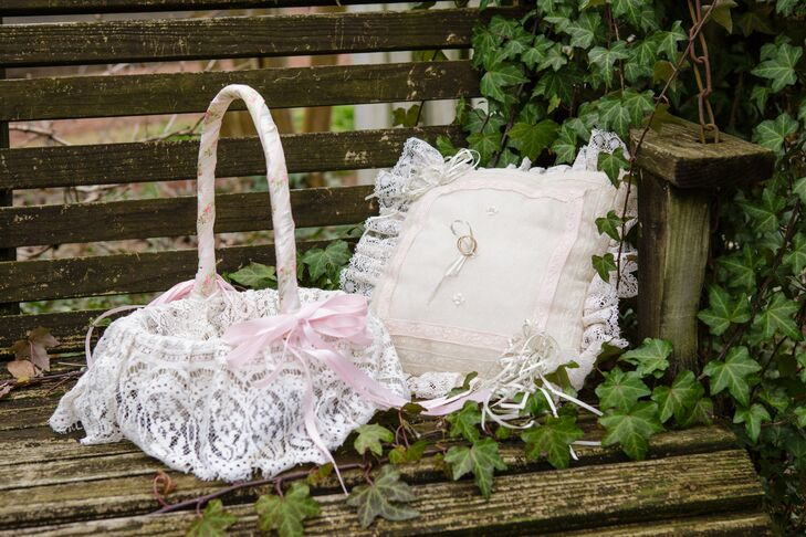 Lace Flower Girl Basket and Ring Pillow