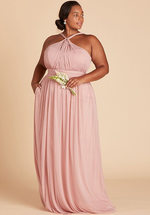 Birdy Grey Kiko Mesh Dress Curve in Rose Quartz Halter Bridesmaid Dress