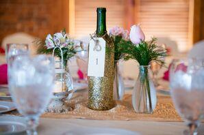 Glittery Wine Bottle Table Number
