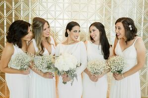 Bridesmaids with Baby's Breath Bouquets