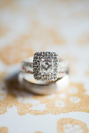 Square Engagement Ring With A Halo