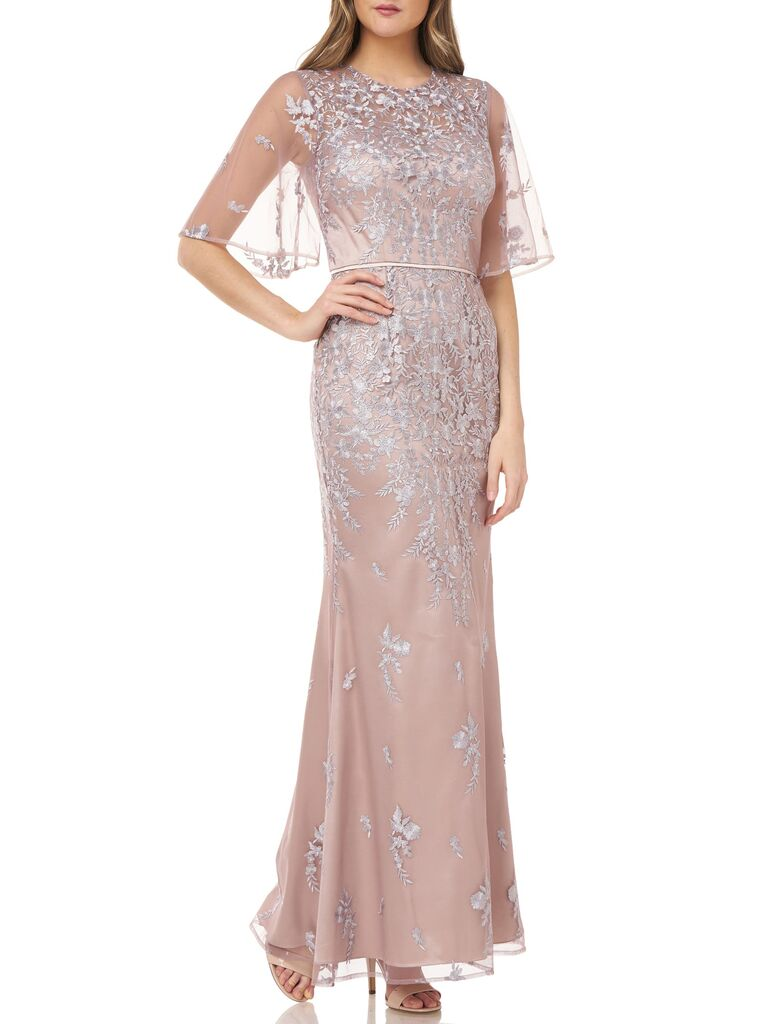 JS Collection floral embroidered evening gown