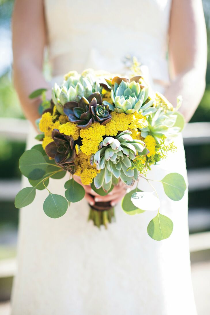 Krysten carried various succulents, yellow yarrow and seeded eucalyptus.